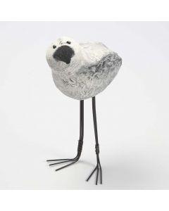 Långbent fågel av frigolit klädd med pulp