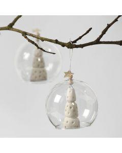 Julgran av vit lera i glasklocka