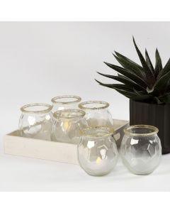 Frostade ljusglas med guldkant