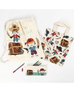 Pennfodral, textilkasse och skopåse med piratmotiv dekorerad med textiltusch