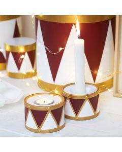 Ljusstakar i form av trumma i terrakotta, målad med hobbyfärg och hobbyfärg i tuschpenna.