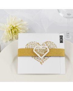 Menykort till bröllop, dekorerade med designpapper i glittrigt designpapper i guld och shaker sticker