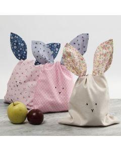Kaninpåse sydd i patchwork tyg
