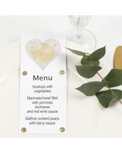 Menykort dekorerade med hjärta av pergamentpapper, glitter och rhinestones