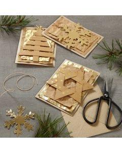 Julkort dekorerad med hängande dekorationer i läderpapper