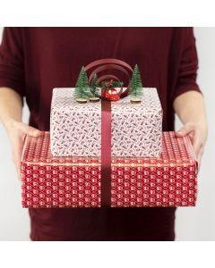 Presentinslagning med båge av presentband och minifigurer