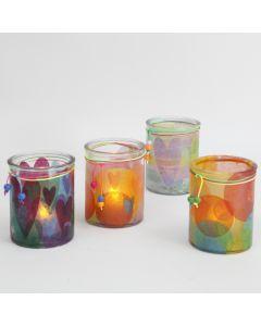 Ljusglas dekorerade med silkespapper