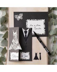Inbjudning till bröllop dekorerad med klänning och smoking
