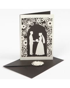 Inbjudan med utstansat bröllopsmotiv och spetskartong