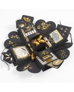 Explosion box som present med pengar och choklad