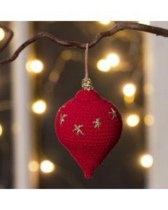 Virkad droppformad ornament i bomullsgarn