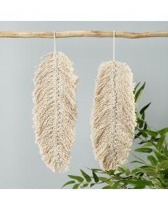 Makramédekoration i form av ett blad