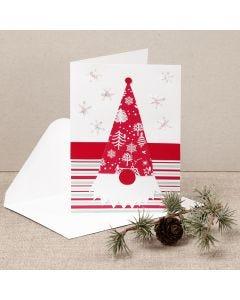 Julkort med en tomtenisse gjord av designpapper