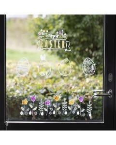 Fönsterdekoration till påsk ritad med krittusch