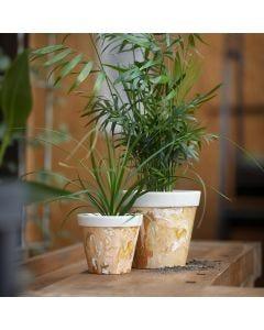 Marmorerade krukor av bambufibrer
