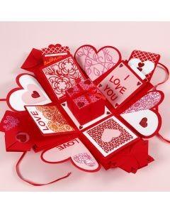 Explosionbox dekorerad till alla hjärtans dag