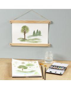 Sådan maler du natureffekter med viftepensel og akvarelmaling
