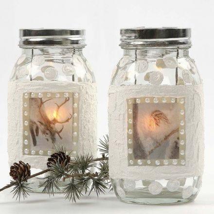 Lanternor med snöeffekt