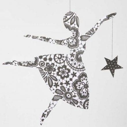 Ballerina med stjärna i Paris designpapper