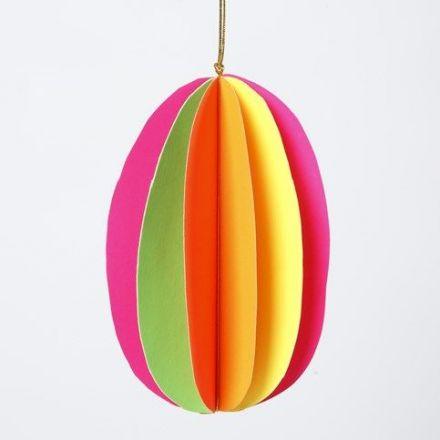 Ägg i 3D av neonfärgad kartong