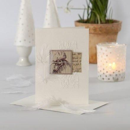 Påskkort med sydda dekorationer och designpapper från Vivi Gade