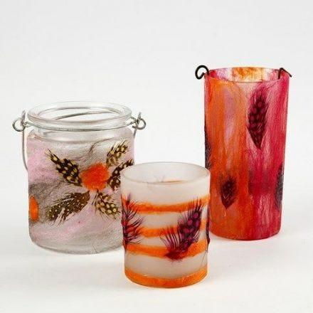 Ljusglas med tunn Merinoull och fjädrar