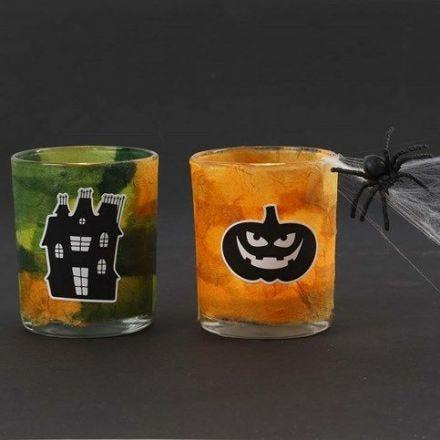 Ljusglas med stråsilkepapper och halloween stickers