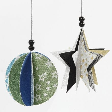 Dekorationer av papper med glitter