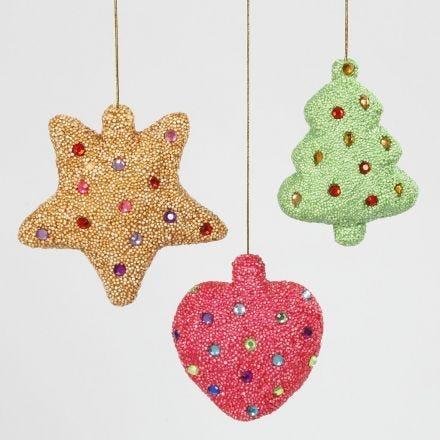 Juldekorationer av frigolit klädda med Foam Clay och dekoreras med rhinestones