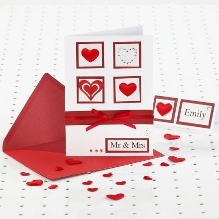 Rött och vitt bröllopskort med Rhinestone
