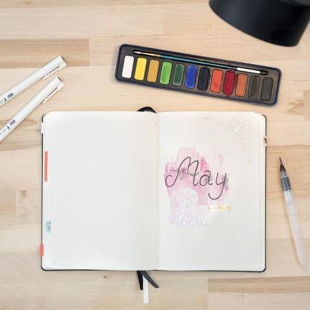 Bullet journal med vattenfärger