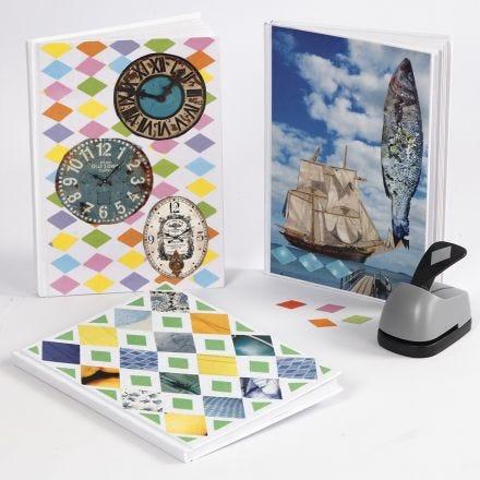 Bok med collage av rivpapper och veckotidningar