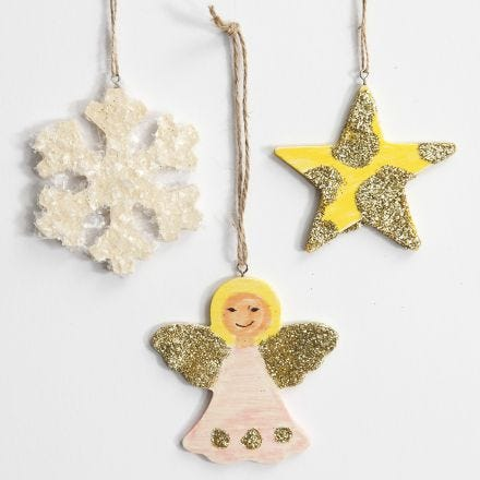 Hängande juldekorationer med glitter