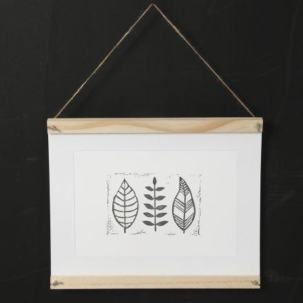 Gör eget tryck med blad på papper