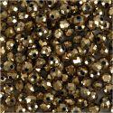 Facettpärlor, stl. 3x4 mm, Hålstl. 0,8 mm, metallicbronze, 100 st./ 1 förp.