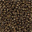 Rocaipärlor, Dia. 3 mm, stl. 8/0 , Hålstl. 0,6-1,0 mm, bronze, 25 g/ 1 förp.