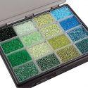 Rocaipärlor, Dia. 3+4 mm, stl. 6/0+8/0 , Hålstl. 0,6-1,0+0,9-1,2 mm, mixade färger, 16x100 g/ 1 förp.