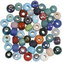 Glaspärlemix, Dia. 9 mm, Hålstl. 2,5-3 mm, mixade färger, 500 g/ 1 förp.