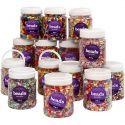Plastpärlor, stl. 6-15 mm, Hålstl. 1,5-6 mm, mixade färger, 16x700 ml/ 1 förp.