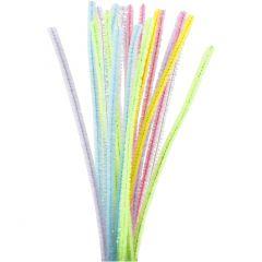 Piprensare, L: 30 cm, tjocklek 6 mm, glitter, pastellfärger, 24 st./ 1 förp.
