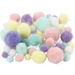 Pompoms, Dia. 15-40 mm, glitter, pastellfärger, 62 g/ 1 förp.