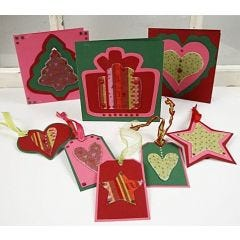Julkort och tags i kartong och filt