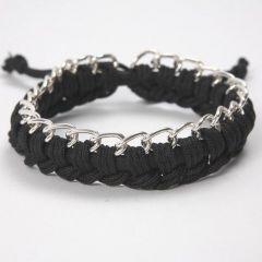 Armband i silikon med knytsnöre och kedja