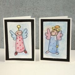 Julkort med ängel i akvarell