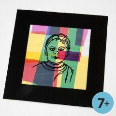 Inramad porträtt på collage av färgad cellofan