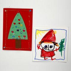 Dekorerade julkort av kartong i A5