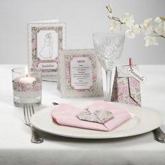 Kortserie med rosa Pearl kartong och rhinstenar
