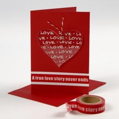 Kort med dekorerat hjärta av plexiglas