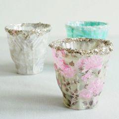 Ljusglas med Skagen decoupagepapper och glitter på kanten