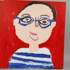 Måla självporträtt på målarduk